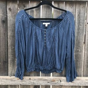 American Eagle Button Lace Detail Top